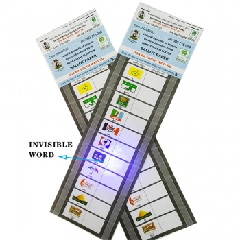 Disposable Security Voting Card Ballot Paper