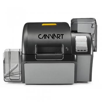 Reverse transfer PVC card printer
