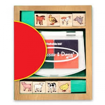 Baby Farm Animals Wooden Stamp Set