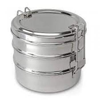 Large Silver Metal Stacking Storage Bin