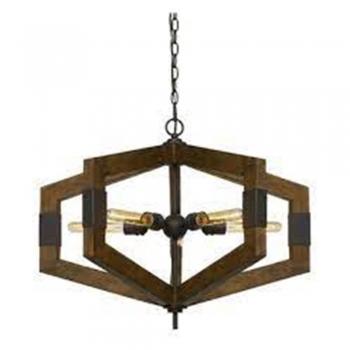 Light Unique Chandelier with Wood Accents