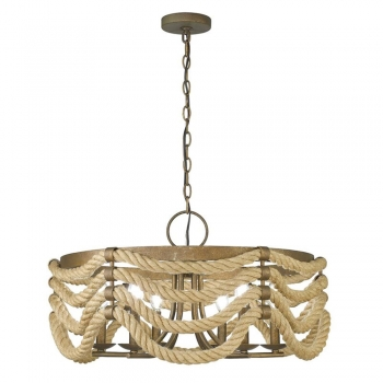 Light Unique or Statement Drum Chandelier with Rope Accents