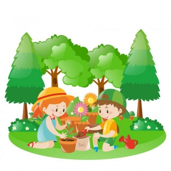 Kids plant tree