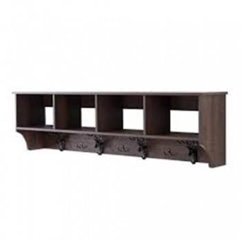 White and Natural Wood Shelf With Hooks