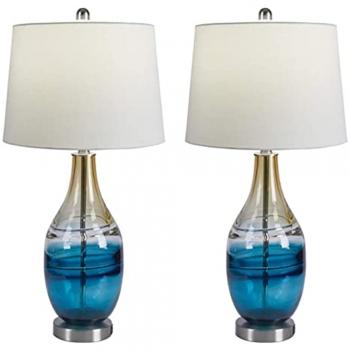 Blue Linen Table Lamp
