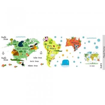 Kids World Map Peel   Stick decors