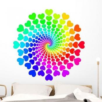 Rainbow Hearts Spray Fabric Wall Decal