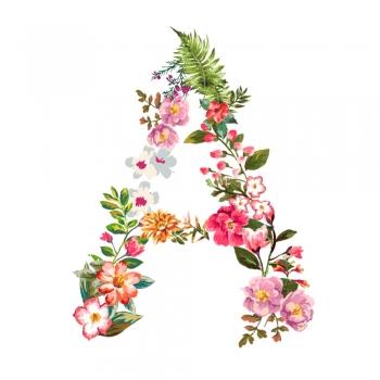 Floral bunny rabbit letters