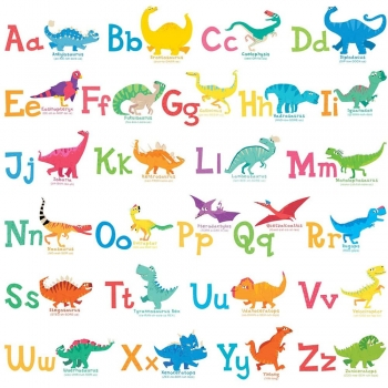 Grey yellow navy contemporary dino letters