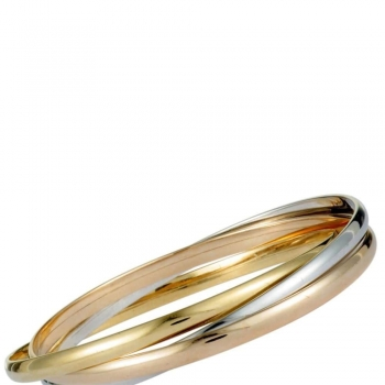 White, yellow and rose gold Bangles