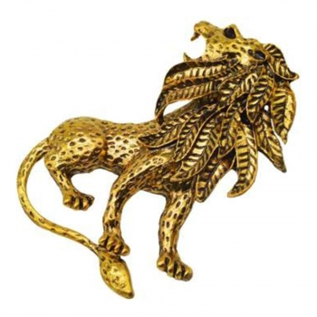 Golden Color Stainless Steel Lion Brooches Lapel Pins