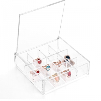 Square Transparent Plastic Jewelry Storage Boxes