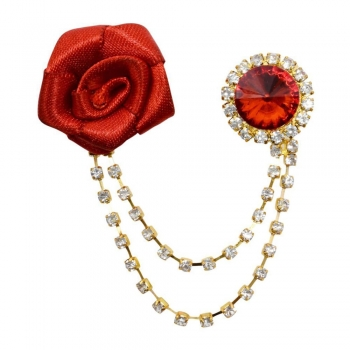 Lapel Pin - Rose - Red And Gold