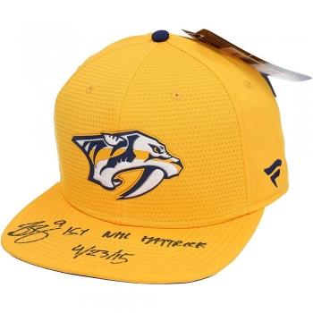 Sports Collectible Hats [Filip Forsberg Nashville Predators Autographed Gold Snapback Cap with1st NHL Hat Trick 42