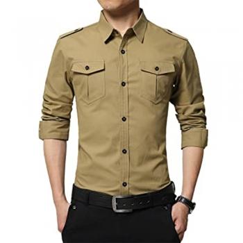 Epaulette Button-Ups Dress Shirts