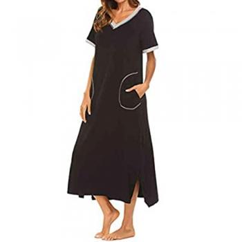 Side-slit cotton Sleepwear   Nightwear